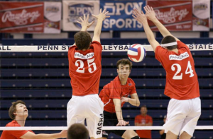 Craig Houtz | For Trib Total Media Fox Chapel's Ben DePellegrini spikes the ball against Parkland's Jack Dreisbach (left) and Kyle Stout during the PIAA Class AAA final June 6, 2015 at Rec Hall in University Park.  Read more: http://triblive.com/sports/hssports/volleyball/8569386-74/season-team-state#ixzz3deFr9dlx